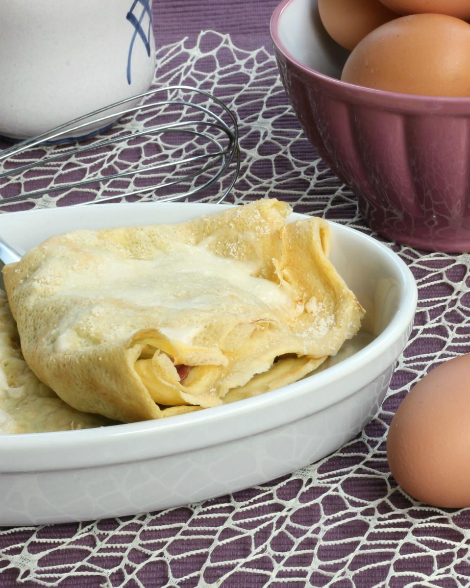CREPES AL FORNO GRATINATE ricetta con radicchio pancetta