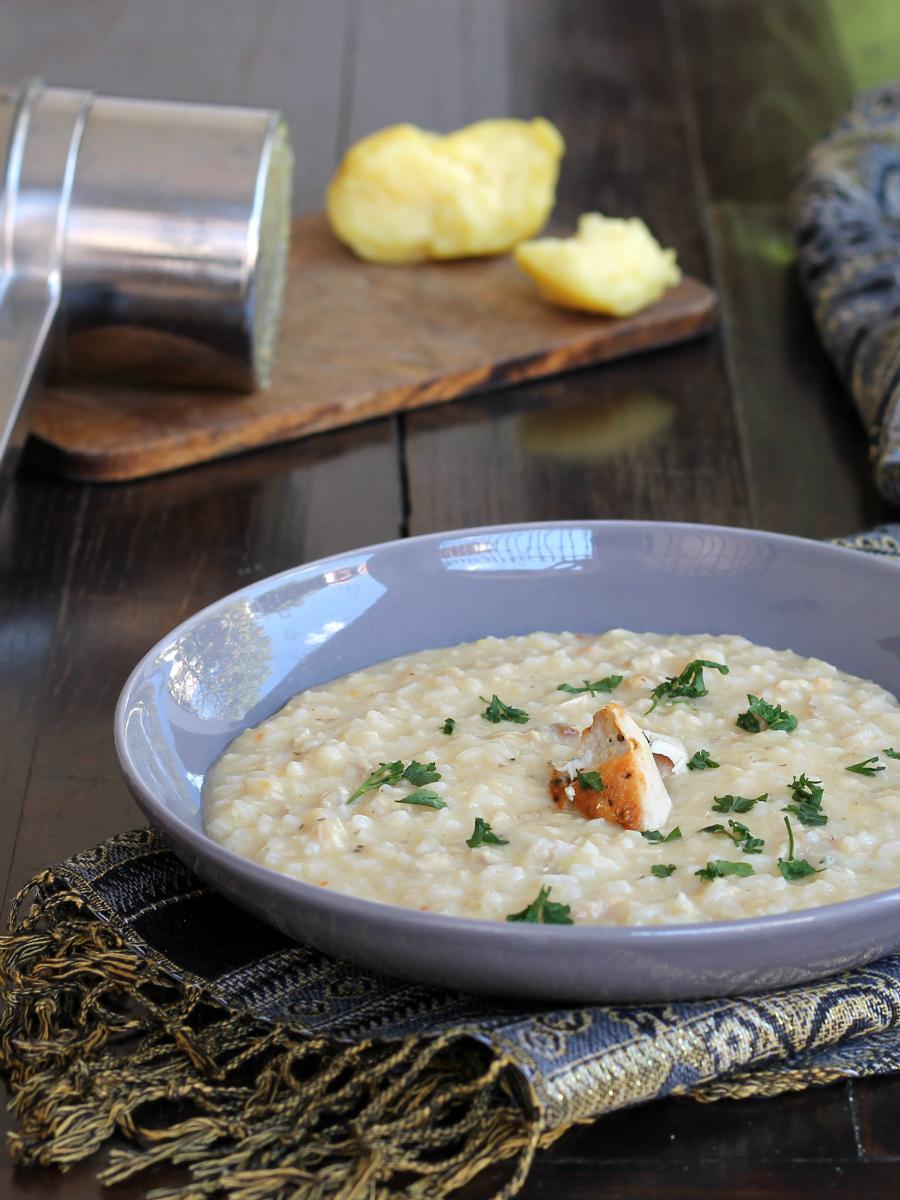 RISOTTO SALMONE E PATATE ricetta con crema di patata senza burro