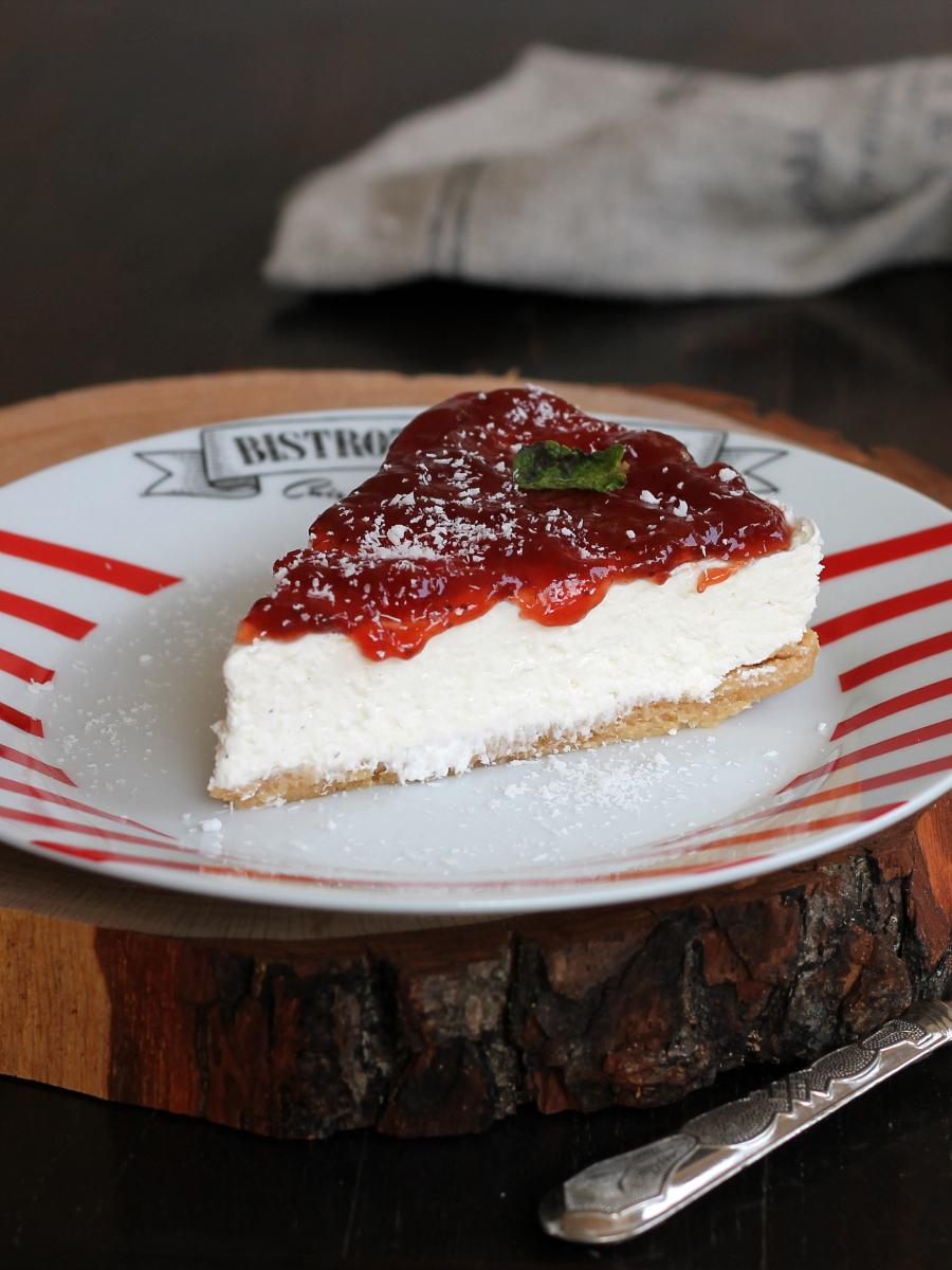 CHEESECAKE COCCO FRAGOLE ricetta torta fredda veloce senza forno
