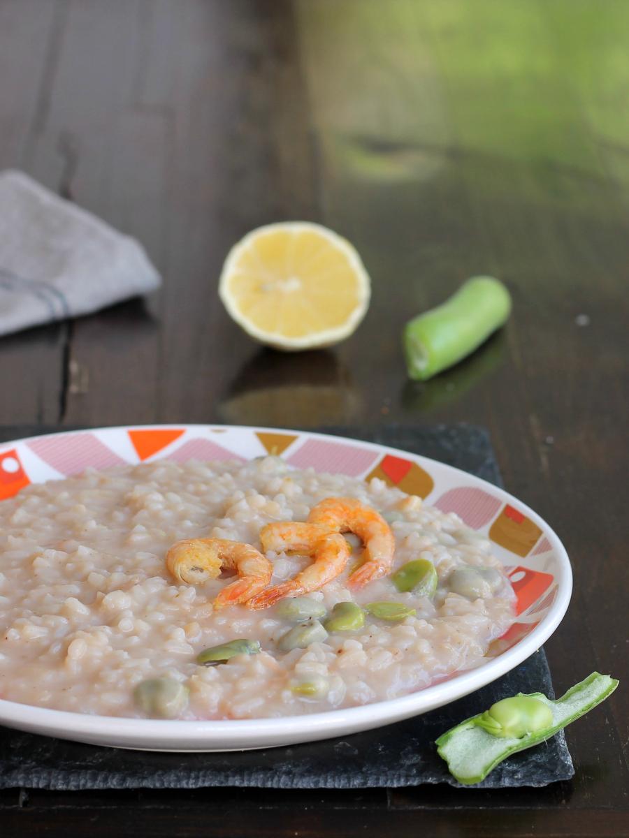RISOTTO FAVE GAMBERI LIMONE ricetta primo piatto cremoso