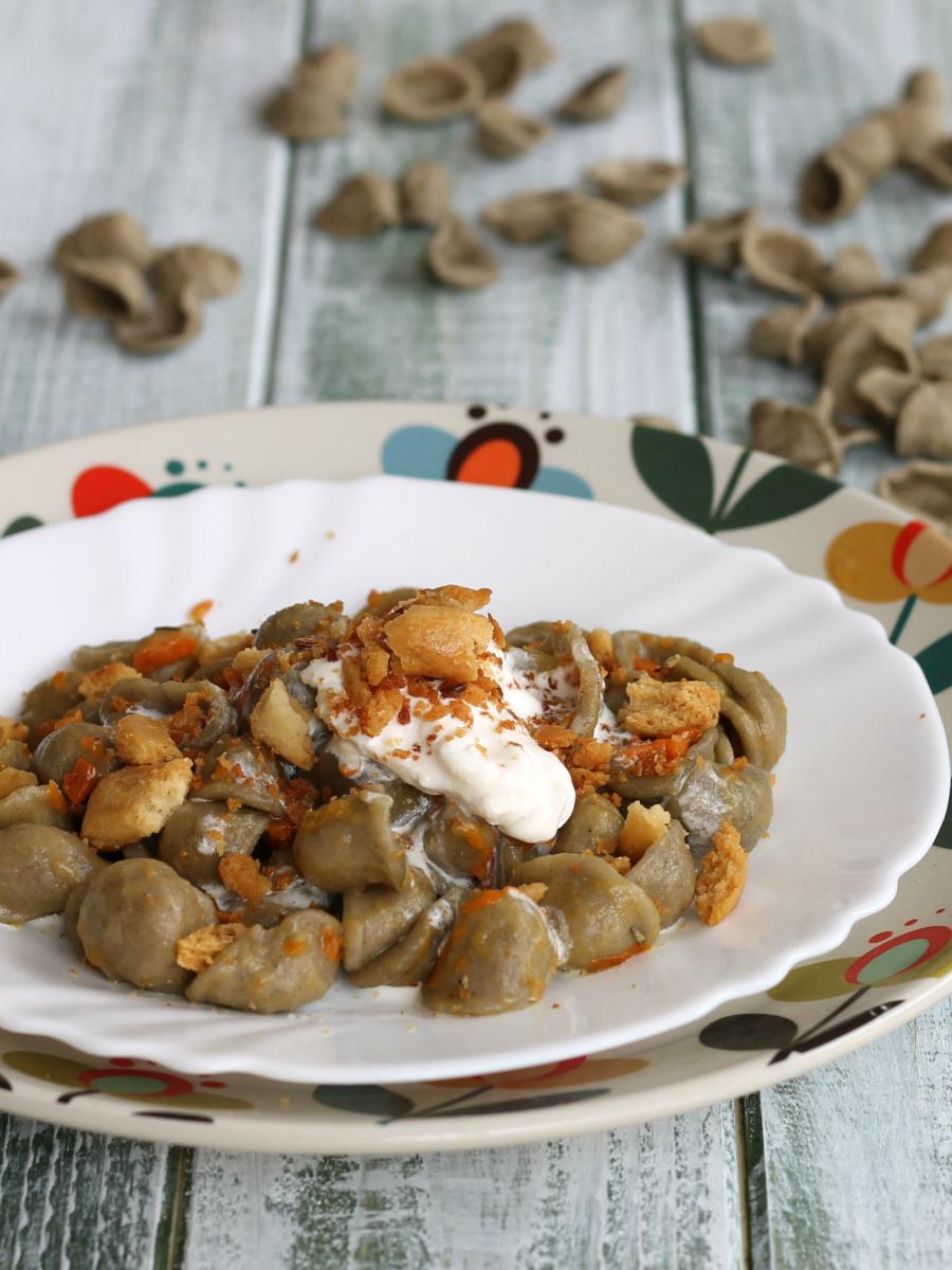 ORECCHIETTE AL GRANO ARSO ricetta pasta con zucca