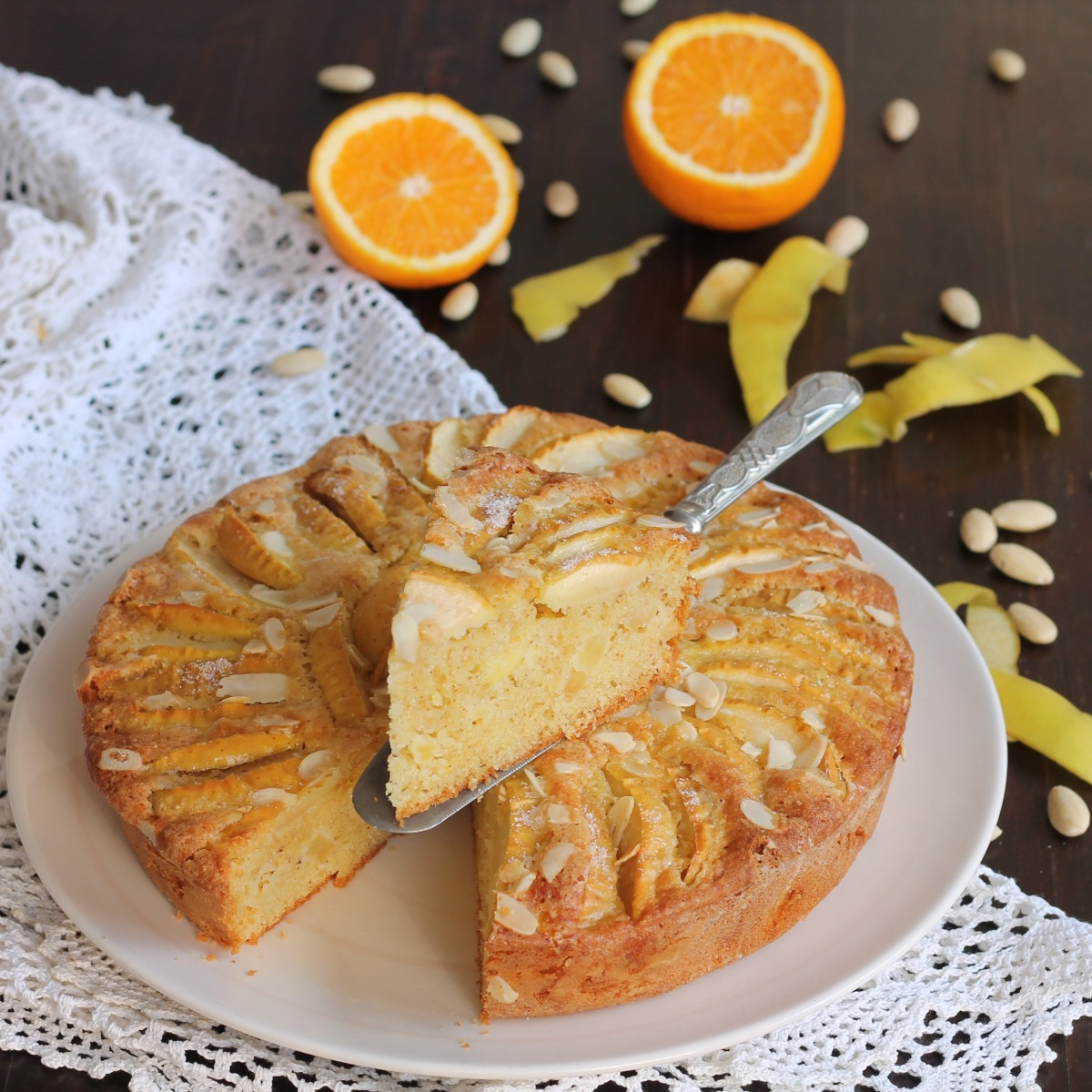 TORTA MELE ARANCIA MANDORLE ricetta torta di mele senza latte e burro