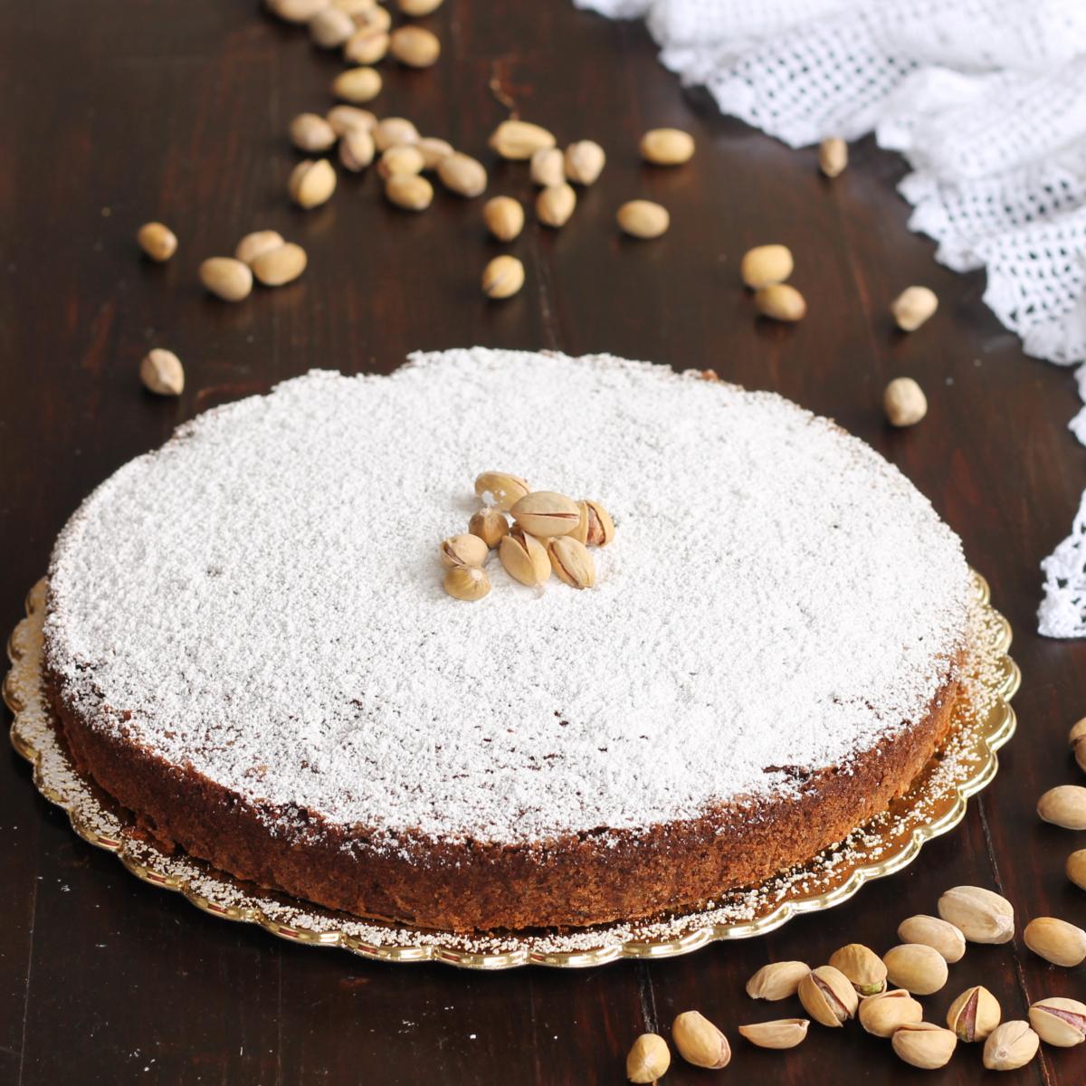 TORTA CAPRESE FONDENTE AL PISTACCHIO ricetta torta al cioccolato