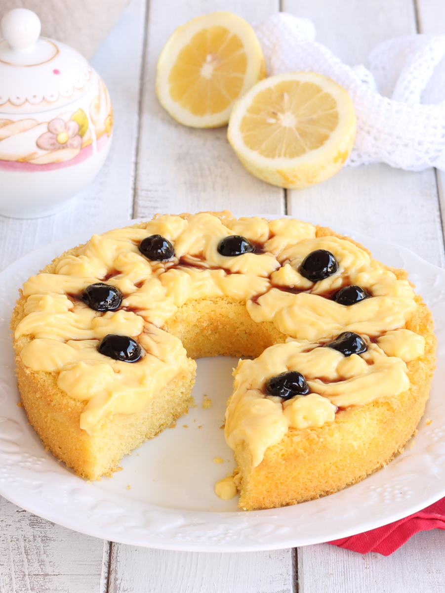ZEPPOLA CAKE ricetta torta sofficissima con crema e amarene