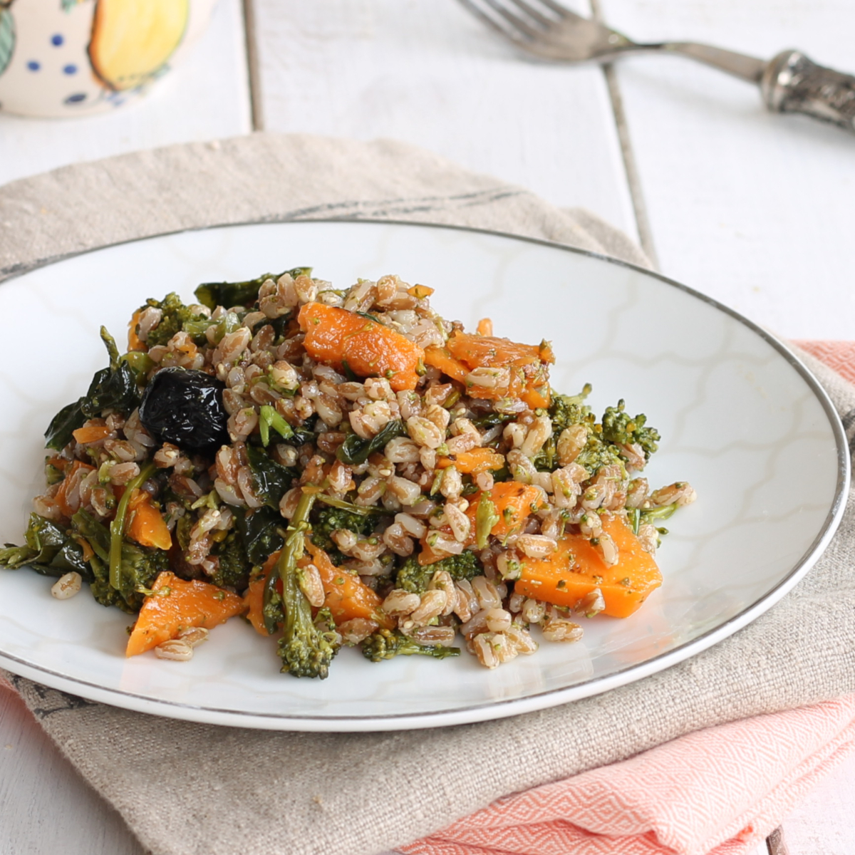FARRO FREDDO CON ZUCCA GRIGLIATA ricetta con cereali e verdure
