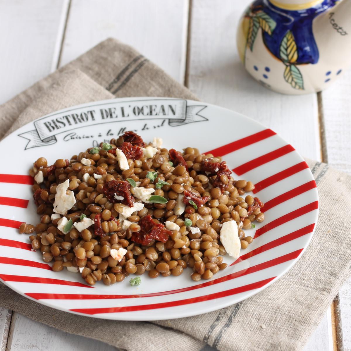 LENTICCHIE POMODORI SECCHI FETA ricetta insalata di lenticchie