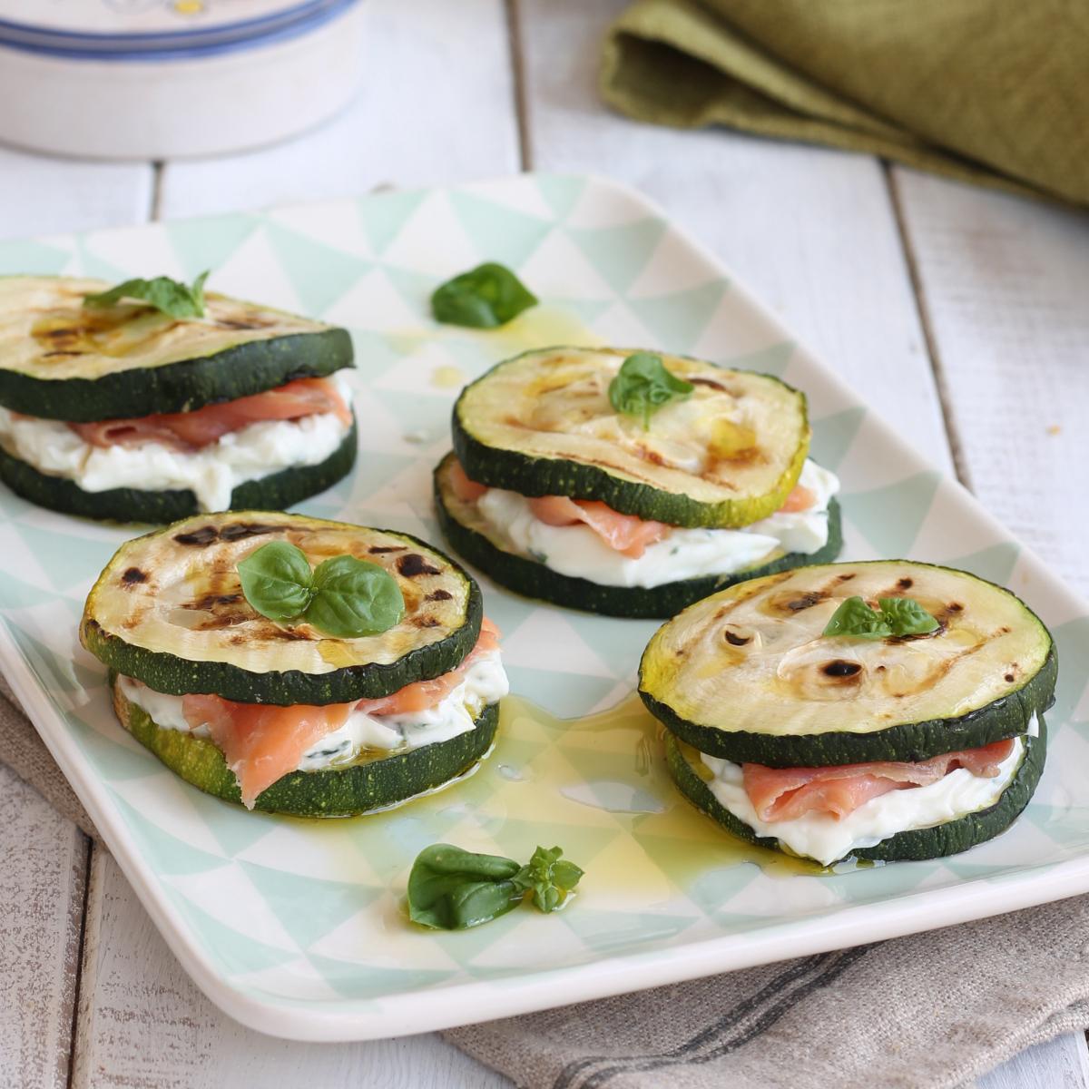 MILLEFOGLIE ZUCCHINE SALMONE ricetta sandwich zucchine grigliate