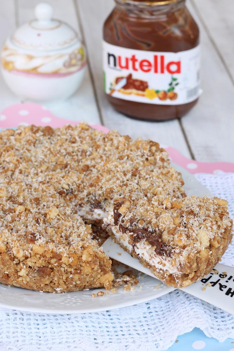SBRICIOLATA SENZA COTTURA COCCO NUTELLA ricetta torta fredda