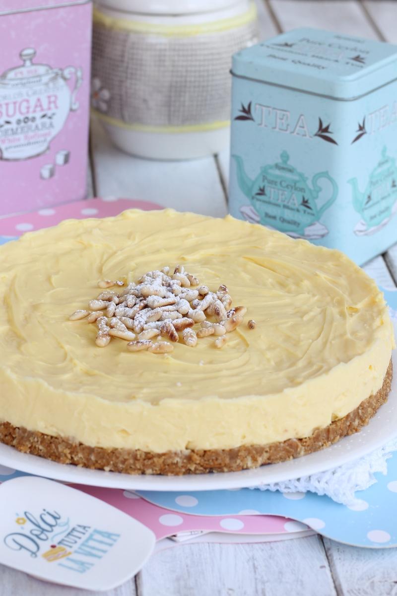 TORTA DELLA NONNA SENZA FORNO ricetta torta fredda crema e pinoli