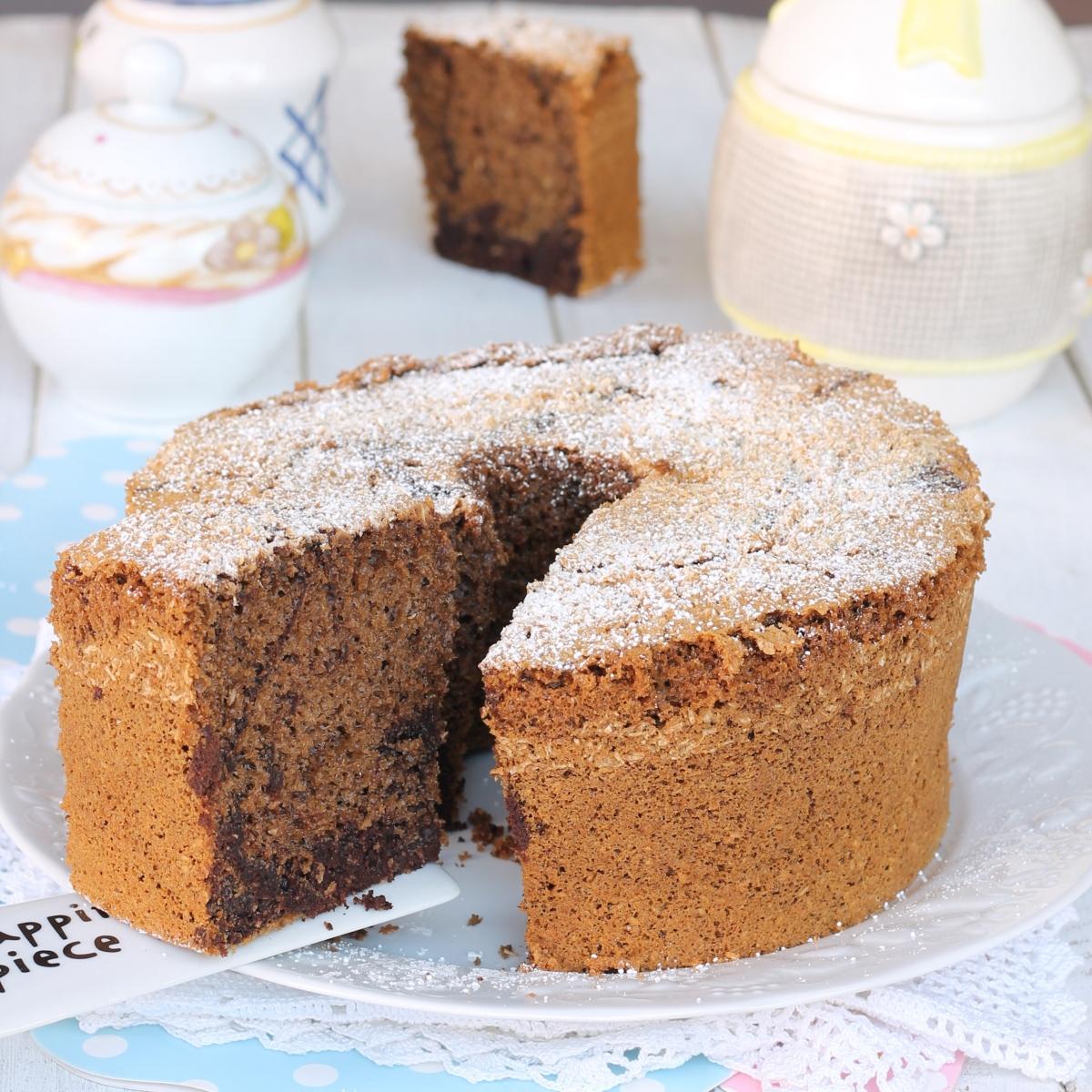 CHIFFON CAKE BICOLORE cocco caffe cacao |ricetta ciambella variegata