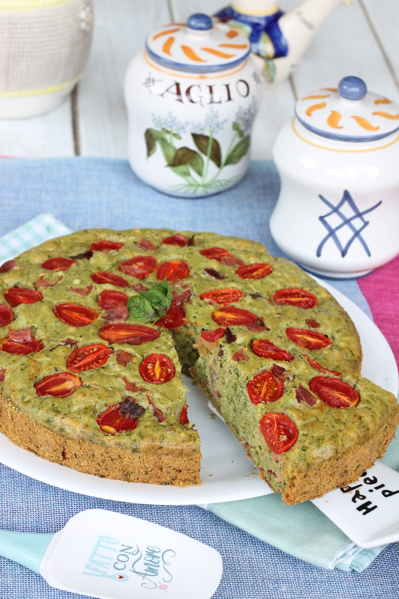 TORTA SALATA BASILICO SPECK ricetta impasto veloce senza lievito