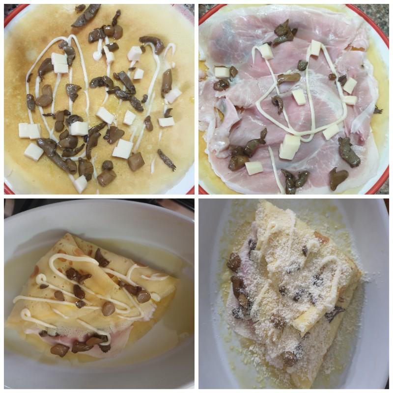Crepes funghi cotto besciamella | ricetta crepes gratinate al forno