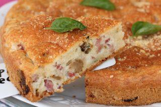 Torta salata albumi funghi pancetta | ricetta rustico con impasto solo albumi