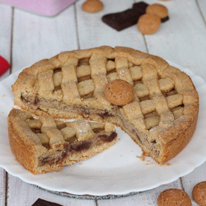 Crostata amaretti caffè cioccolato | ricetta con pasta frolla agli amaretti