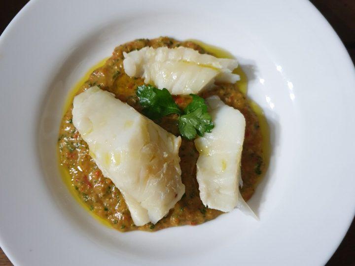 Ricetta baccalà crema di peperoni |secondo di mare con baccalà al vapore