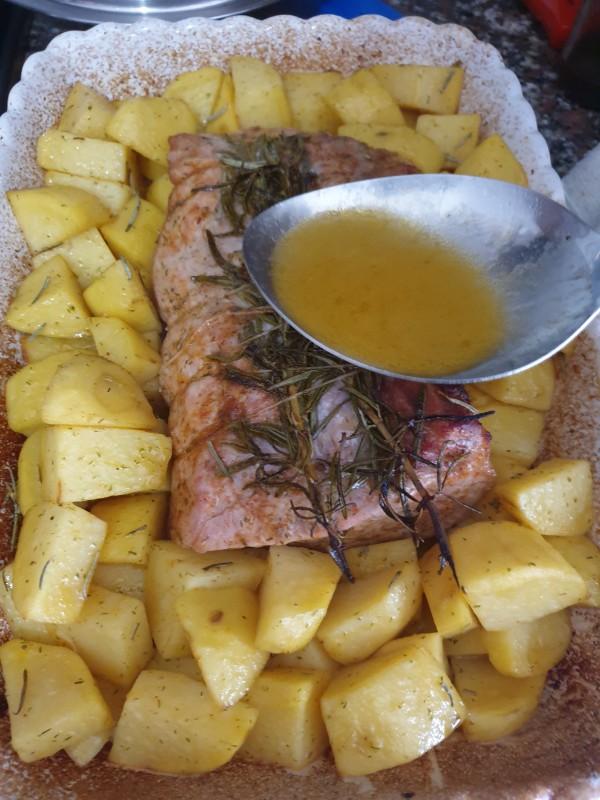 ARROSTO AL FORNO arista di maiale al forno con patate