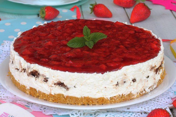 CHEESECAKE alle FRAGOLE con RICOTTA e MASCARPONE   ricetta