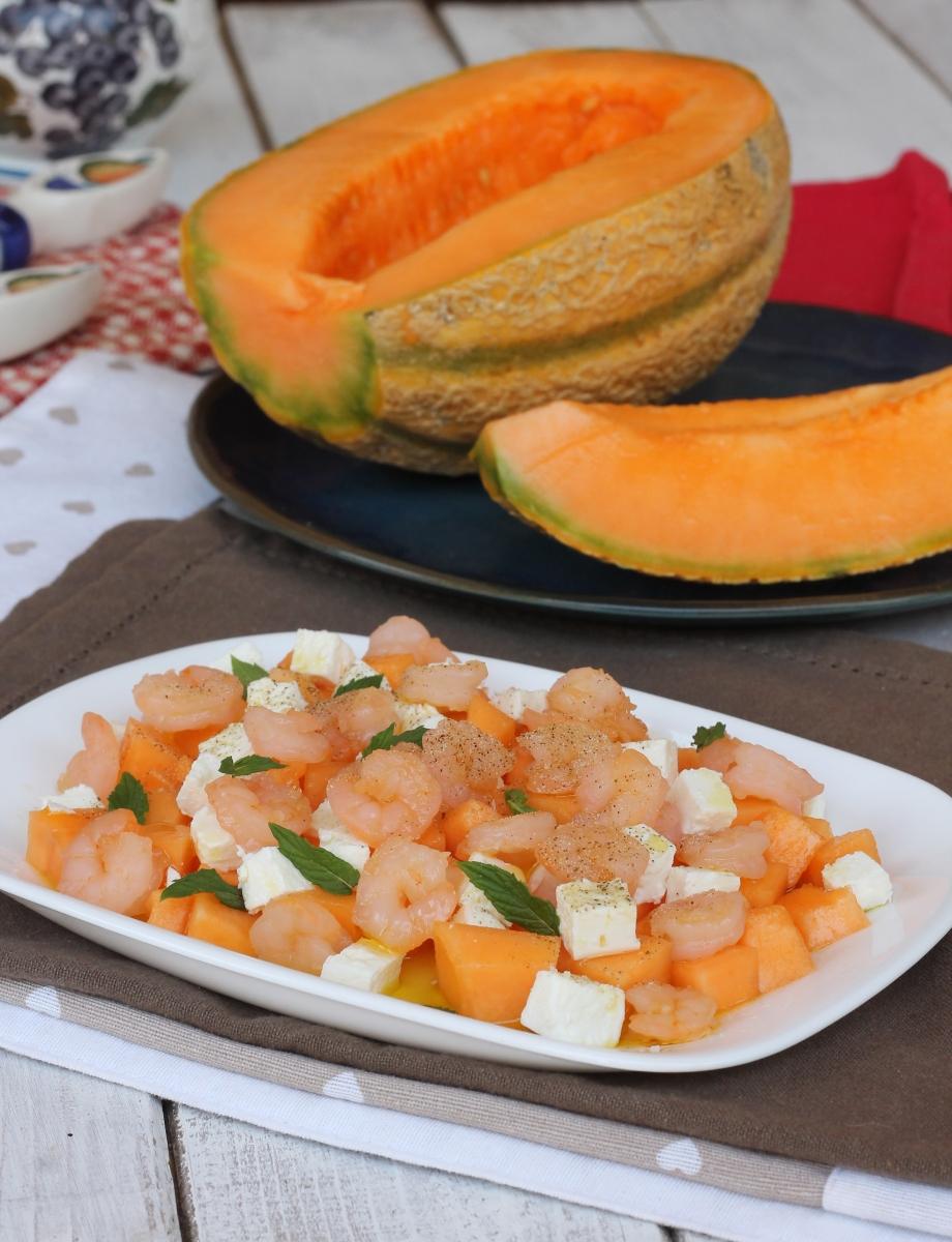INSALATA di GAMBERi insalata con melone estiva