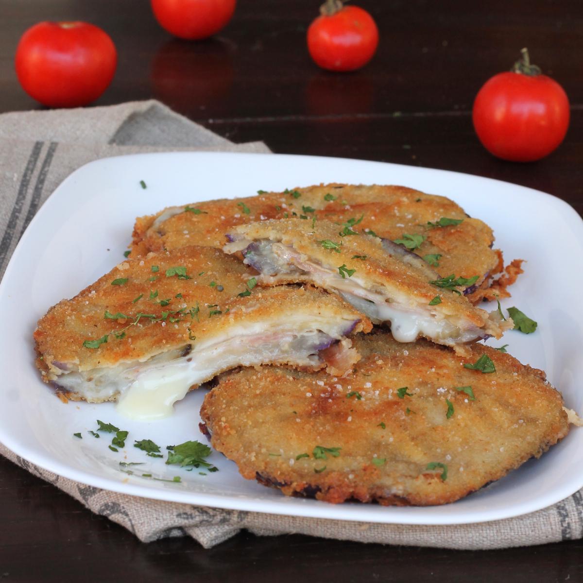 cotolette DI MELANZANE farcite ricetta cordon bleu fritti o al forno