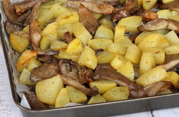 FUNGHI E PATATE AL FORNO |ricetta funghi al forno con patate |contorno