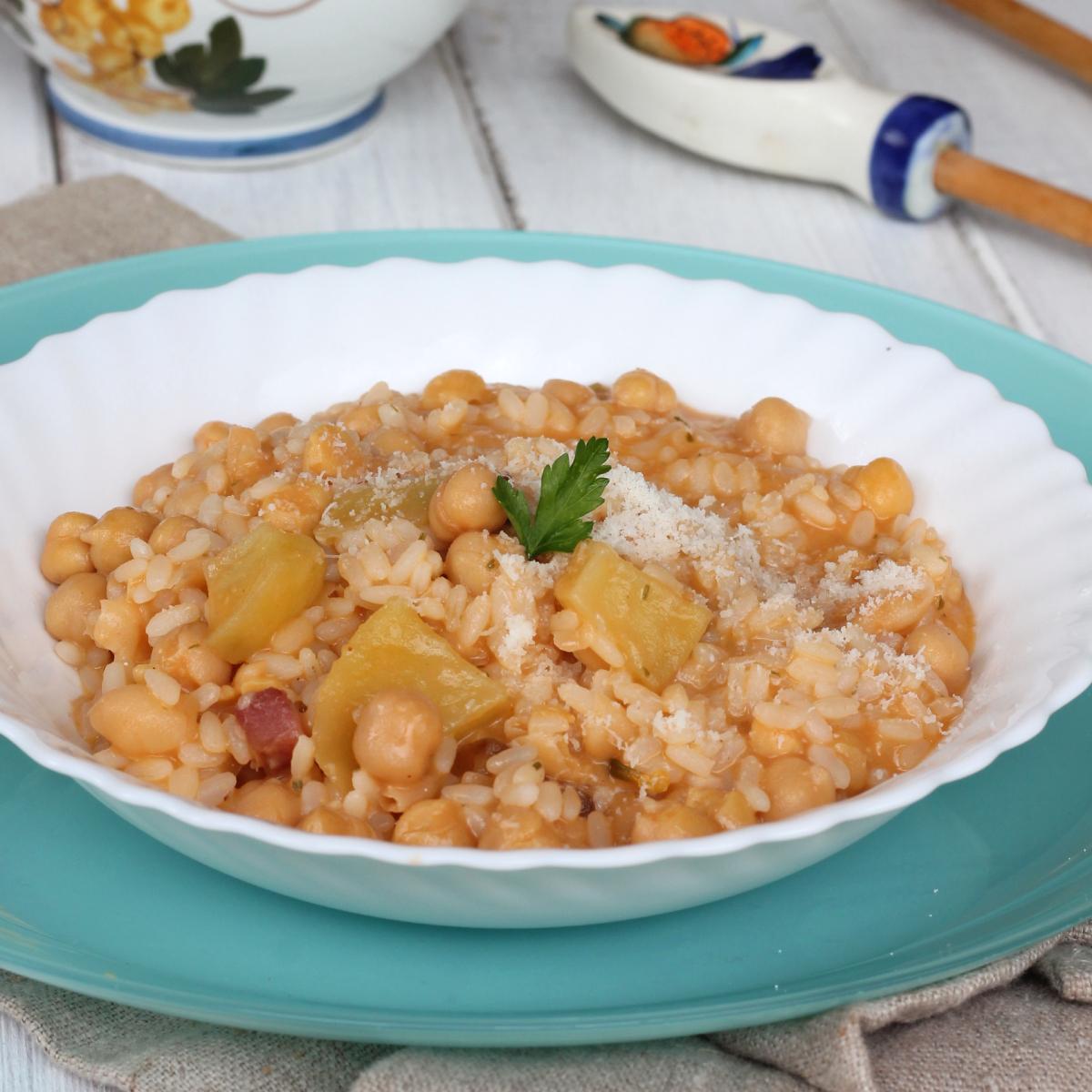 CECI riso E PATATE | primo piatto caldo di riso e ceci con patate