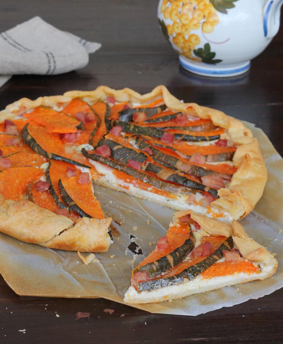 TORTA di ZUCCA salata |torta salata zucca e ricotta |ricetta con brisè