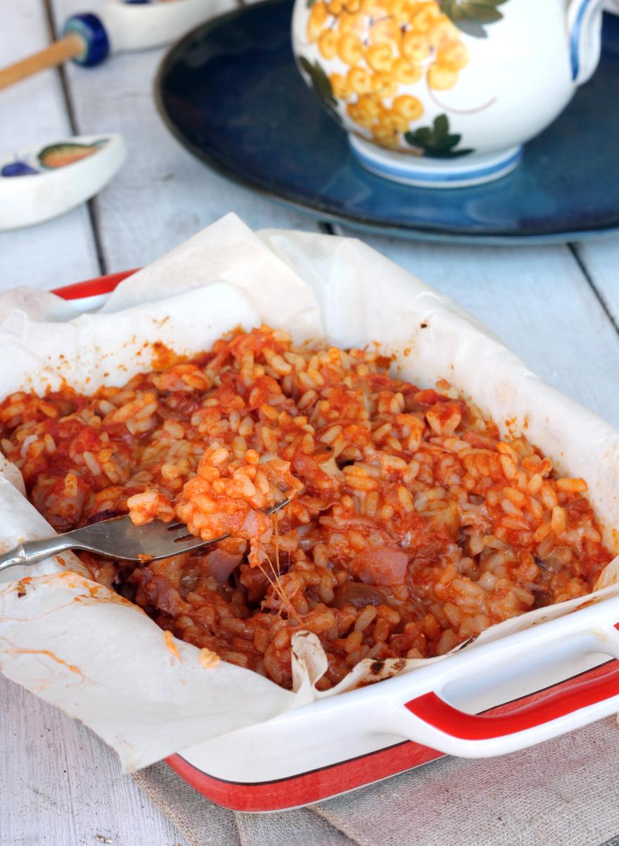 TIMBALLO DI RISO AL FORNO FILANTE ricetta riso al pomodoro al forno
