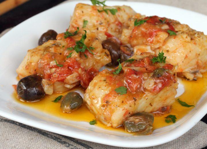 BACCALA' ALLA SICILIANA ricetta baccalà con capperi olive e pomodorini