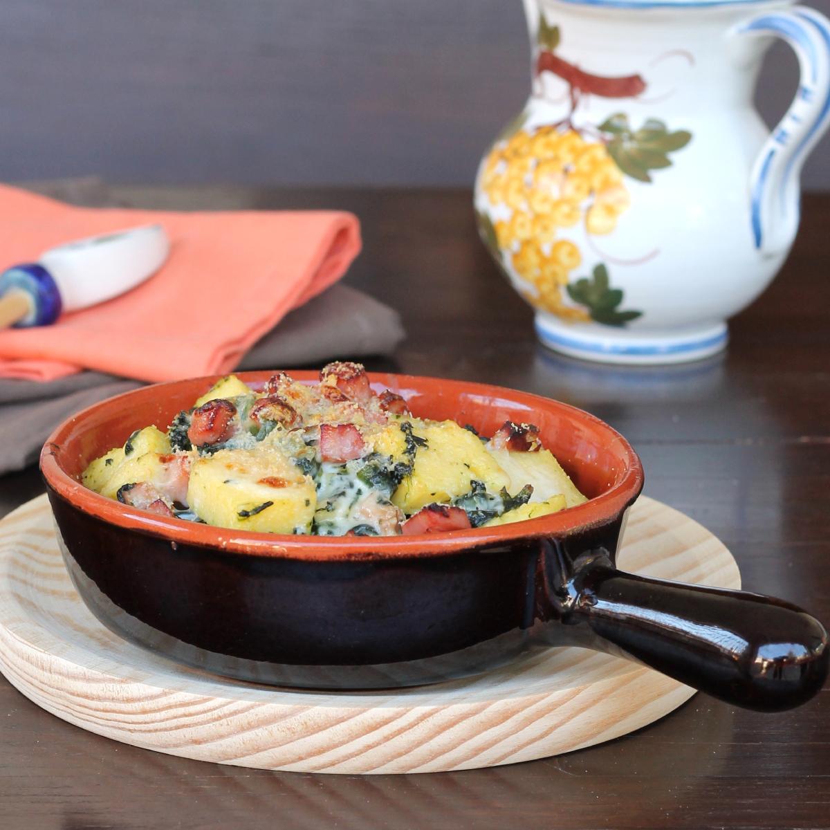 POLENTA E SPINACI AL FORNO timballo di polenta al forno gratinata