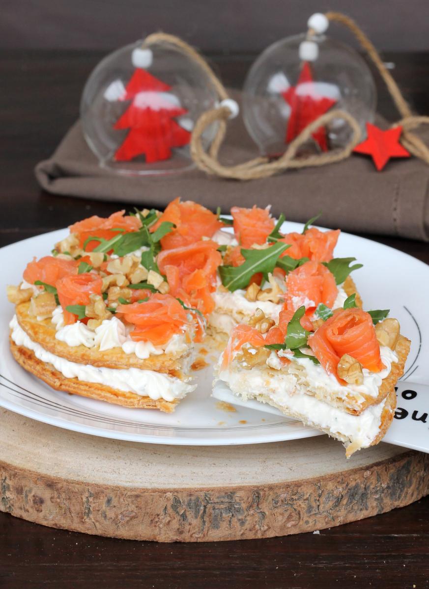 TORTA SALATA SALMONE E PHILADELPHIA pasta sfoglia con salmone
