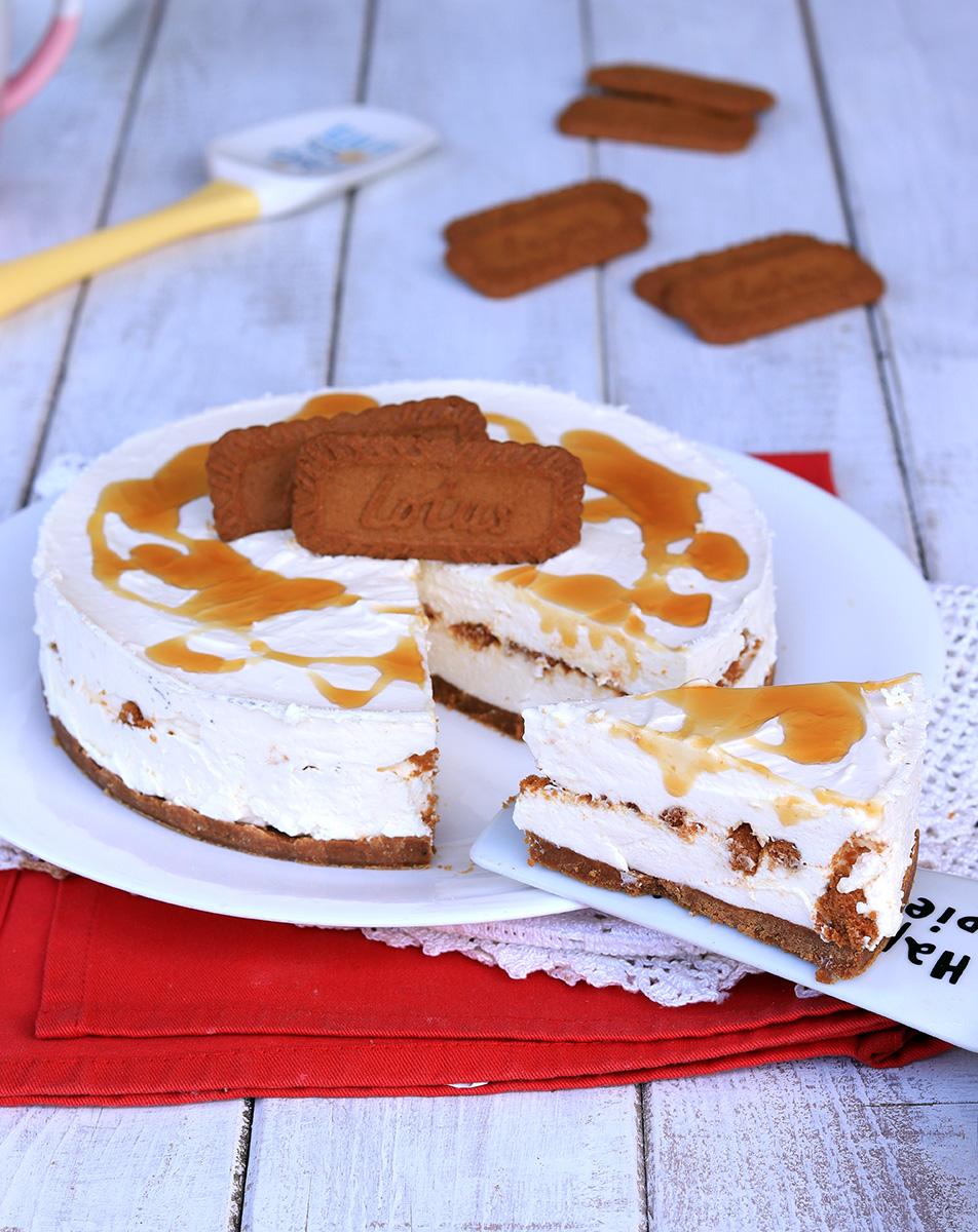 LOTUS CHEESECAKE ricetta torta fredda con biscotti lotus al caramello
