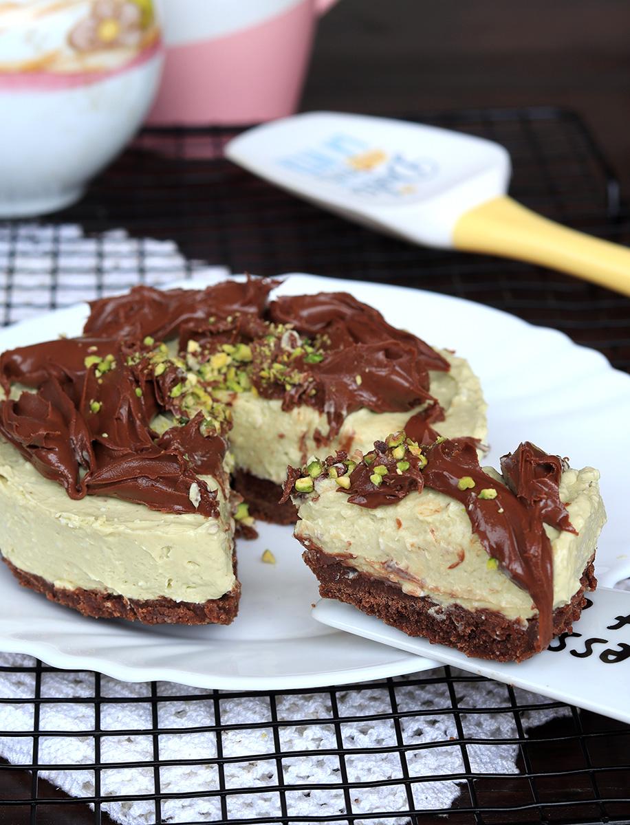 CHEESECAKE PISTACCHIO E NUTELLA ricetta torta fredda senza forno