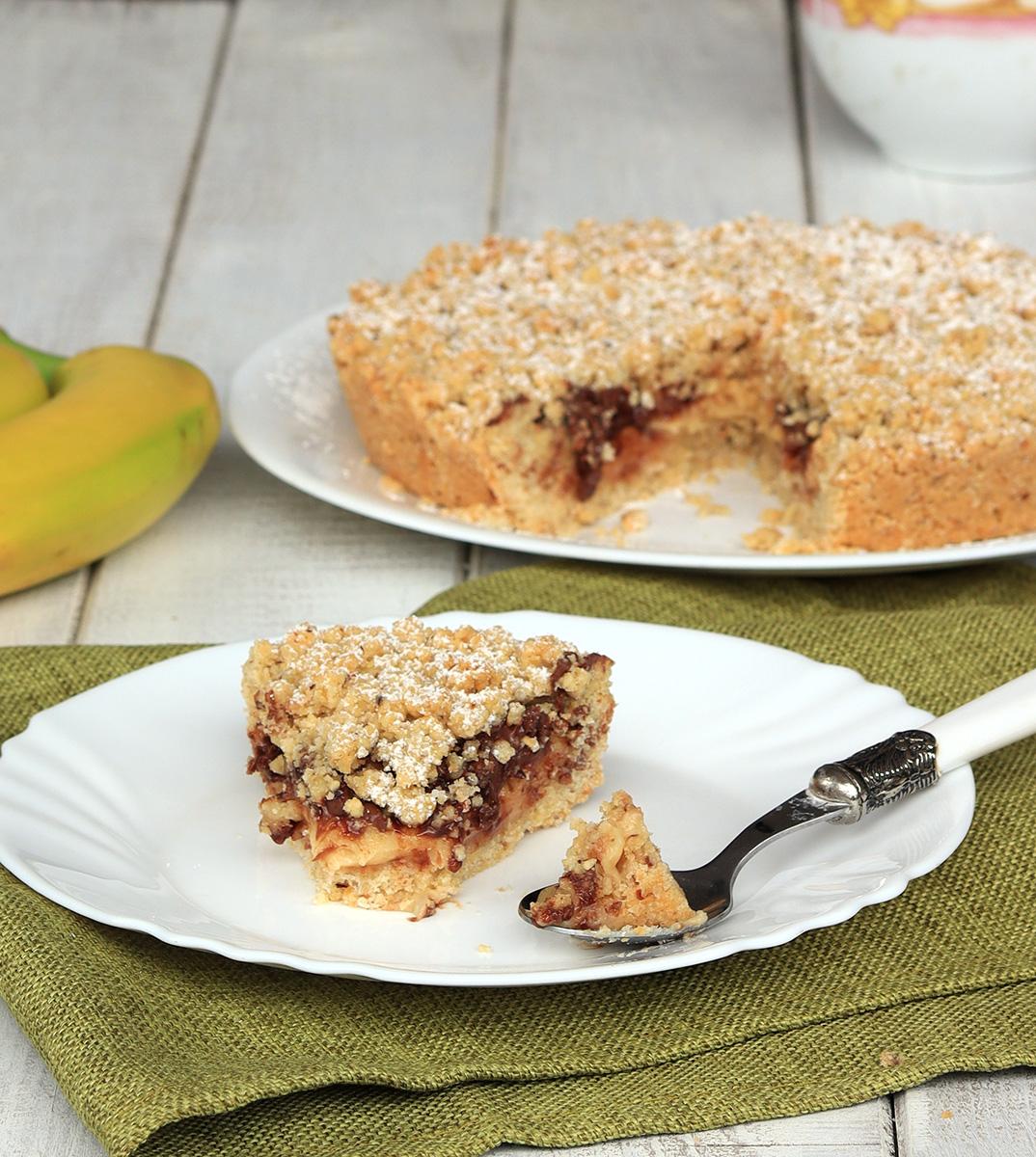 SBRICIOLATA DOLCE BANANA E NUTELLA ricetta torta banane e nutella