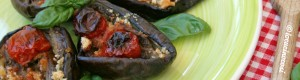 Melanzane al forno con acciuga e pomodorini