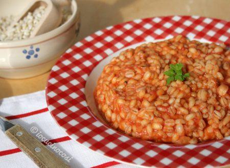 Orzotto al pomodoro e mozzarella
