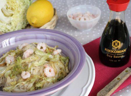 Vermicelli di riso con gamberi e verza