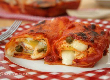 Lasagna roll – Rotoli di lasagna con ricotta prosciutto e piselli