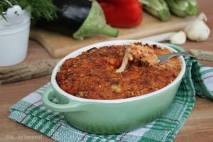 Riso con mozzarella e verdure al forno