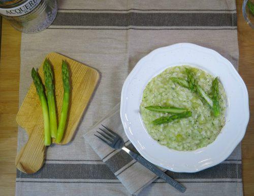 risotto con asparagi e mantecato con crema di zucchini al parmigiano