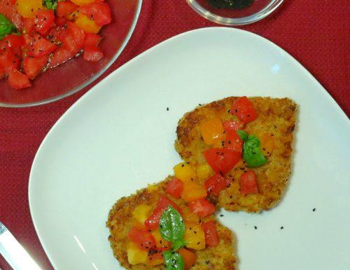 Milanese cottura al forno con pomodori e sesamo nero