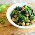 Insalata calda di ceci, spinaci e pancetta