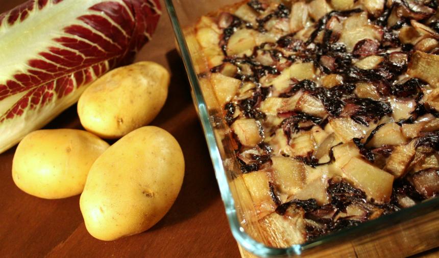Pasticcio di radicchio, patate e topinambur