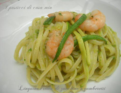 Linguine crema di zucchine e gamberetti