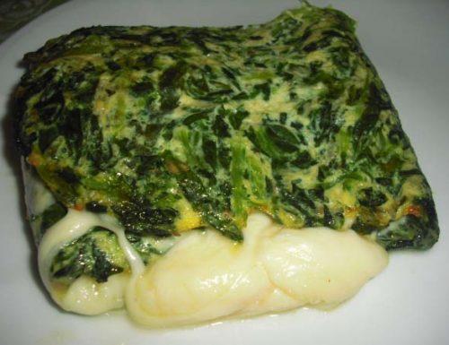Frittata di spinaci con filato e mortadella