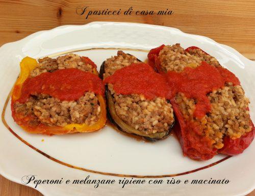 Peperoni e melanzane ripiene con riso e macinato