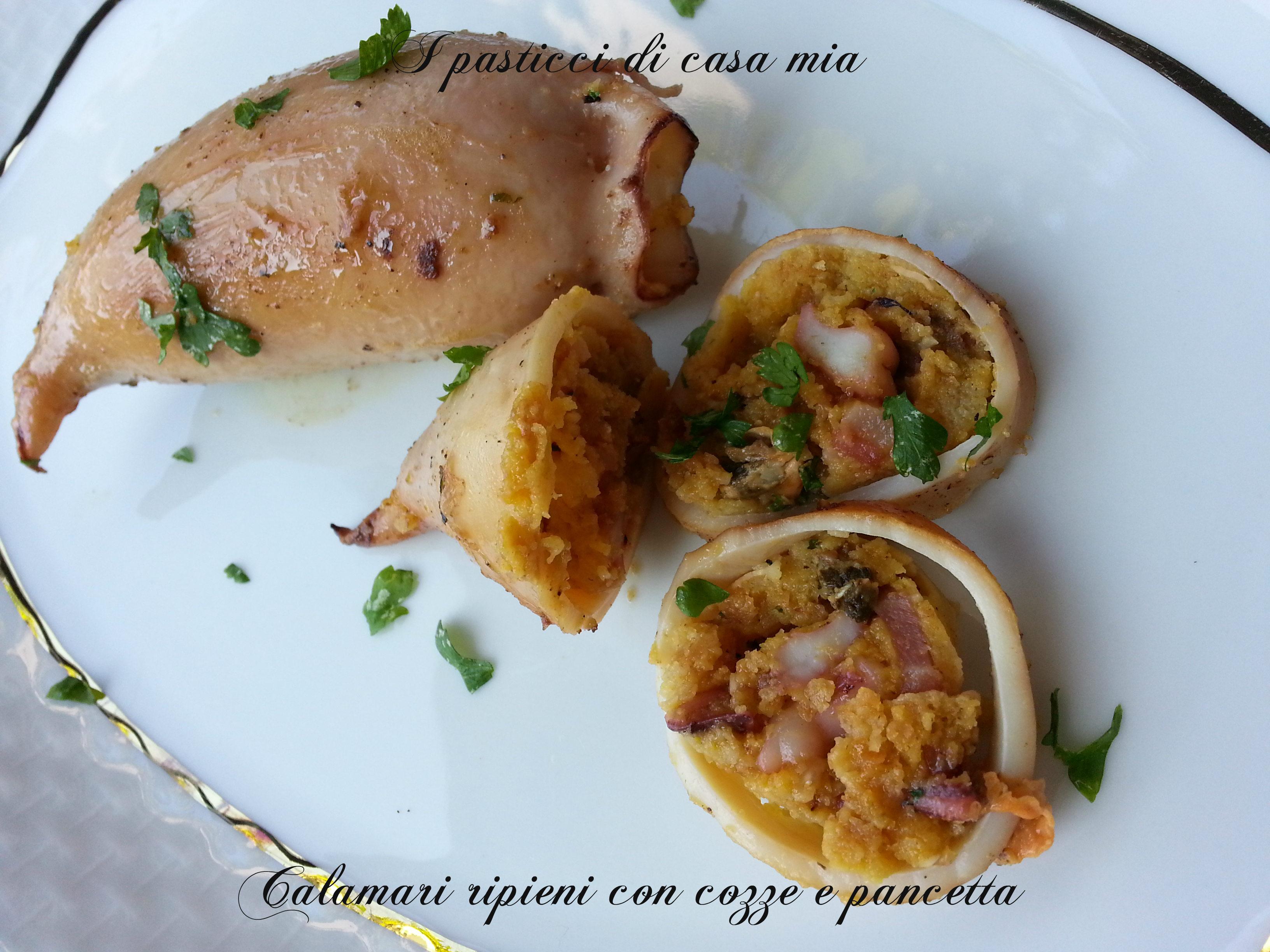 Calamari ripieni con cozze e pancetta