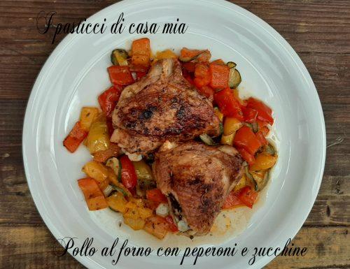 Pollo al forno con peperoni e zucchine