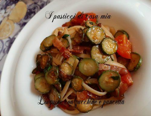 Linguine con zucchine e pancetta