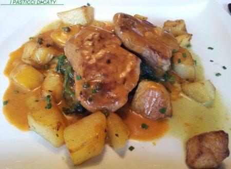 Filetto al pepe con cicoria selvatica e patate croccanti