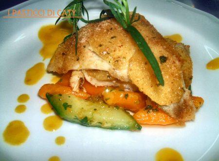 Orata in crosta di patate con crema di peperoni e verdure